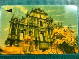 MACAU-CTM 90's MACAU VIEWS PHONE CARD - ST. PAUL RUINS - USED - Macao