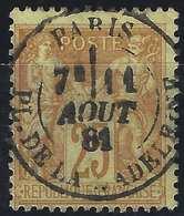 1876 Sage N°92 Obl 25c Bistre Sur Jaune N/U Oblitéré Du Dateur De Paris Place De La Madeleine...Superbe !! - 1876-1898 Sage (Type II)