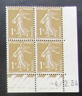 Semeuse 1 C. Bistre En Bloc De 4 Coin Daté - 1906-38 Säerin, Untergrund Glatt
