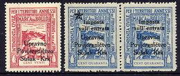 CROATIA Fiscal Stamps, Italian Issue For Fiume And Cuoa Overprinted Susak-Krk MNH / ** - Croatia