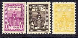 CROATIA Fiscal Stamps For Municipality Of Osijek 1, 20, 50 Dinar LHM / * - Croatia