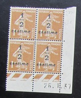 Semeuse 1/2 Sur  1 C. Bistre En Bloc De 4 Coin Daté - 1906-38 Säerin, Untergrund Glatt