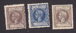 Cuba, Scott #163, 166-167, Mint Hinged, King Alfonso XIII, Issued 1898 - Cuba (1874-1898)