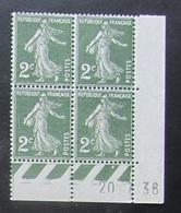Semeuse 2 C. Vert 278 En Bloc De 4 Coin Daté - 1906-38 Säerin, Untergrund Glatt