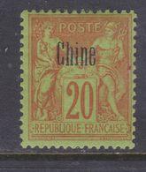 Chine N° 7 X  Type Groupe : 20 C. Brique Sur Vert Trace De Charnière Sinon TB - Unused Stamps