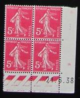 Semeuse 5 C. Rose  278 B En Bloc De 4 Coin Daté - 1906-38 Säerin, Untergrund Glatt