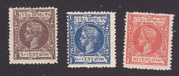 Cuba, Scott #163, 166, 168, Mint Hinged, King Alfonso XIII, Issued 1898 - Cuba (1874-1898)