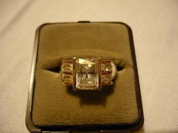 925er Silberring - Teilweise Vergoldet - Mit Zirkonen (678) - Ringe