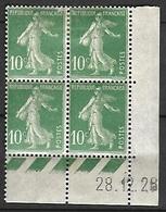 Semeuse 10 C. Vert 159 En Bloc De 4 Coin Daté - 1906-38 Säerin, Untergrund Glatt