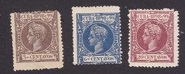 Cuba, Scott #163, 166, 170, Mint Hinged, King Alfonso XIII, Issued 1898 - Cuba (1874-1898)