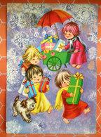 Auguri Buon Natale Buon Anno Bambini Doni Cane Ombrello  Cartolina - Natale