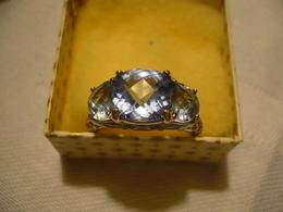 925er Silberring - Mit Blauen Facinierten Steinen (679) - Ringe