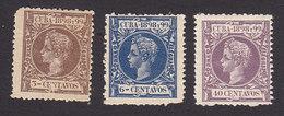 Cuba, Scott #163, 166, 171, Mint Hinged, King Alfonso XIII, Issued 1898 - Cuba (1874-1898)