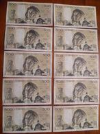 FRANCE 10 Billets De Banque De 500 Francs PASCAL Année 1982 B.7-1-1982.B. F.148 N° 89266 A 89275 (bon état) - 500 F 1968-1993 ''Pascal''