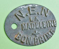 """Jeton Monnaie De Nécessité """"N.E.N. Bon Prime / La Madeleine"""" Près Lille 59 Nord - French Token - Professionals / Firms"""