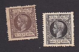 Cuba, Scott #163, 172, Mint Hinged, King Alfonso XIII, Issued 1898 - Cuba (1874-1898)