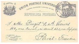 PEROU  - ENTIER POSTAL U.P.U. - LIMA 5.11.1906 POUR PARIS -DOCTOR SANTIAGO M.BASURCO INGENERIO DE ESTADO  /1 - Perù