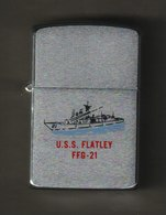 ZIPPO - U.S.S. FLATLEY - FFG-21 -  Chromé Brossé 1989 - Réf, 740 - Zippo