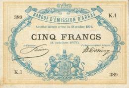 5 FRANCS BANQUE D'EMISSION D'ARRAS - GUERRE FRANCO-ALLEMANDE - 1870 - ...-1889 Anciens Francs Circulés Au XIXème