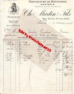 75- PARIS- FACTURE CH. MARTIN ET FILS- MANUFACTURE BONNETERIE GANTERIE- 11 RUE BERTIN POIREE- 1920 - Textile & Vestimentaire