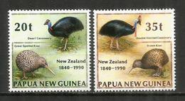 PAPOUASIE.NOUVELLE-ZÉLANDE, émission Conjointe  2 Timbres Neufs ** Casoar & Kiwi - Autruches