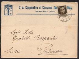 ITALY ITALIA ITALIEN 1941. POSTCARD CARTOLINA, SARTEANO SIENA PALERMO - Altri