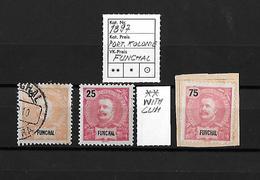 1897 POTUGAL KOLONIE FUNCHAL → 5, 25 & 75 Reis - 1892-1898 : D.Carlos I