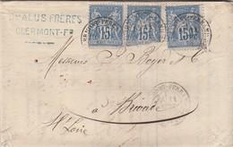 LETTRE. 11 SEPT 78. SAGE 15c X 3 . CHALUS-FRERES CLERMONT-FERRAND POUR BRIOUDE HAUTE LOIRE   /  3 - Postmark Collection (Covers)
