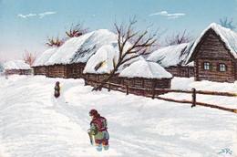 AK Dorf Im Winter - Osteuropa - Feldpost Landst. Batln. Forbach - 1917 (37609) - Europa