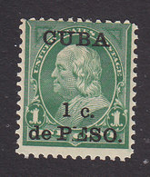 Cuba, Scott #221, Mint Hinged, Franklin Surcharged, Issued 1899 - Cuba