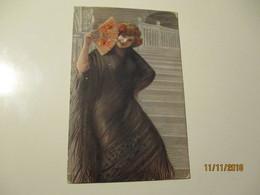 WONDERFUL ART DECO , EROTIC WOMAN WITH FAN , ITALY  SCROCCHI MILANO , 1916 RUSSIA KOSTROMA   ,0 - Illustrateurs & Photographes