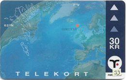 Faroe - Faroese Telecom (Magnetic) - Faroese Map - 30Kr. - 15.000ex, Used - Faroe Islands