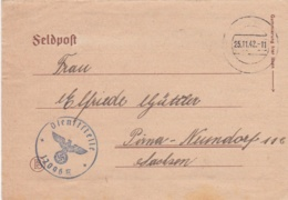German Feldpost WW2: From Rshew - Kolonne Artillerie-Regiment 116  FP 12096E P/m 25.11.1942 - Militaria