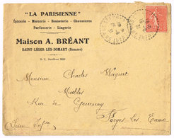 Saint-Léger-les-Domart .Enveloppe Maison A. BREANT .  Epicerie - Mercerie - Bonneterie - Parfumerie. 1931 - Francia