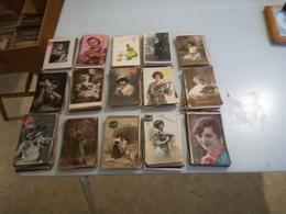 Très Beau Lot De 400 Cartes Postales Anciennes Fantaisies Femmes - Postcards
