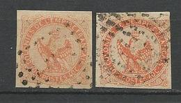 TYPE AIGLE N° 5 X 2 NUANCES OBL TTB - Réunion (1852-1975)