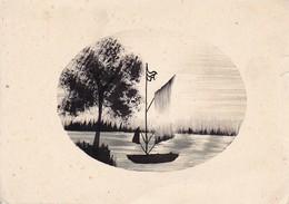 Tuschzeichnung - Boot Auf Dem Wasser - Ca. 1940/50 (37615) - Disegni