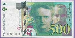 Billet De 500 Francs Pierre Et Marie Cury 1994 .N°H.022160763 Très Craquant Scan - 1992-2000 Ultima Gama