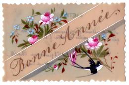 """3158 - Fantaisie - Cp En Celluloïd Peinte - """" Bonne Année """" - - Cartoline"""