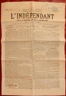 RARE JOURNAL L'INDÉPENDANT DE LA DROME ET DE L'ARDÈCHE MAI 1871 VALENCE INCENDIES A PARIS - 1850 - 1899