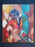 Tableau Cubiste Nature Guitariste Huile Sur Toile 38 Cm X 46 Cm Signé - Oils