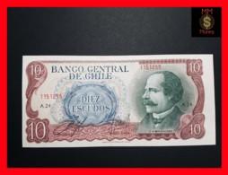 CHILE  10 Escudos  1970 P. 142  BACK GREEN - BROWN UNC - - Chili