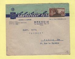 Italie - Brescia - 1951 - Destination France - 6. 1946-.. Repubblica