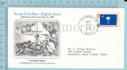 Art Work Envelope Cachet, Enveloppe Artistique, - G. Samerjan ,SOUT CAROLINA Flag, Commemorative, Cover Columbia 1977 - Drapeaux