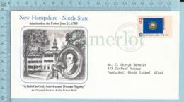 Art Work Envelope Cachet, Enveloppe Artistique, - Robert Bode ,NEW HAMPSHIRE Flag, Commemorative, Cover Concord 1977 - Drapeaux