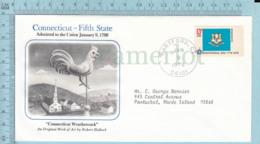Art Work Envelope Cachet, Enveloppe Artistique, - R. Hallock , CONNECTICUT Flag, Commemorative, Cover Hartford 1978 - Drapeaux