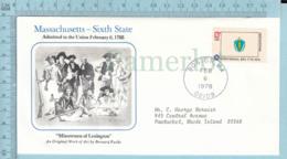 Art Work Envelope Cachet, Enveloppe Artistique, - B. Fuchs , MASSACHUSETTS Flag, Commemorative, Cover Boston 1978 - Drapeaux
