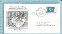 Art Work Envelope Cachet, Enveloppe Artistique, - E. Vebell , DELAWARER Flag, Commemorative, Cover Dover 1977 - Drapeaux