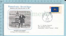 Art Work Envelope Cachet, Enveloppe Artistique, - A. Smith , PENNSYLVANIA Flag, Commemorative, Cover Harrisburg 1977 - Drapeaux