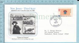 Art Work Envelope Cachet, Enveloppe Artistique, - M. Burroughs ,NEW JERSEY Flag, Commemorative, Cover Trenton 1977 - Drapeaux